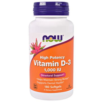 NOW Foods Vitamin D-3 1000 180 softgel